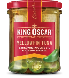 Image of the front of a jar of King Oscar Yellowfin Tuna in Extra Virgin Olive Oil with Jalapeño Peppers, Glass Jar