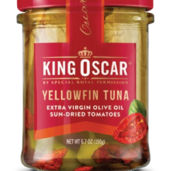 Image of the front of a jar of King Oscar Yellowfin Tuna in Extra Virgin Olive Oil with Sun Dried Tomatoes, Glass Jar