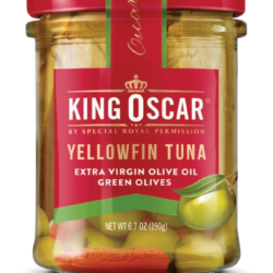 Image of the front of a jar of King Oscar Yellowfin Tuna in Extra Virgin Olive Oil with Green Olives, Glass Jar