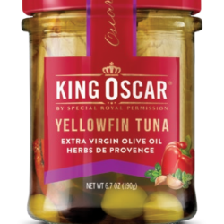 Image of the front of a jar of King Oscar Yellowfin Tuna in Extra Virgin Olive Oil with Herbes de Provence, Glass Jar
