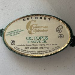 Image of the front of a tin of Conservas de Cambados Octopus in Olive Oil
