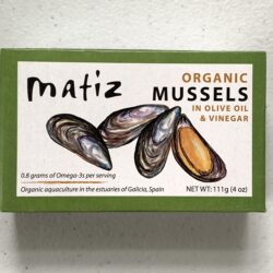 Image of the front of a package of Matiz Organic Mussels in Olive Oil & Vinegar (en Escabeche)
