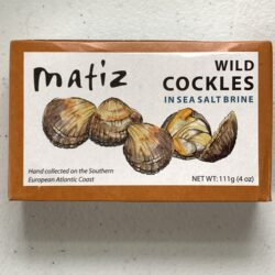 Image of the front of a package of Matiz Cockles in Brine