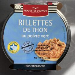 Image of the top of a package of Le Mouettes d'Arvor Tuna Rillettes with Green Peppercorn