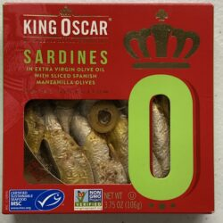 Image of the front of a package of King Oscar Royal Selection Sardines in Extra Virgin Olive Oil with Sliced Spanish Manzanilla Olives