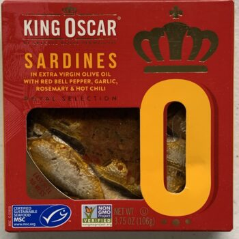 Image of the front of a package of King Oscar Royal Selection Sardines in Extra Virgin Olive Oil with Red Bell Pepper, Garlic, Rosemary & Hot Chili