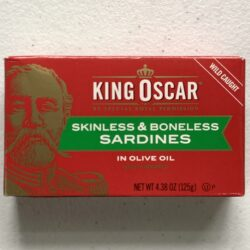 Image of the front of a package of King Oscar Skinless and Boneless Sardines in Olive Oil