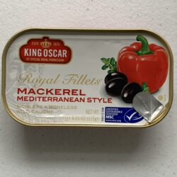 Image of the front of a package of King Oscar Mackerel Fillets Mediterranean Style