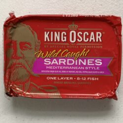 Image of the front of a package of King Oscar Sardines (Sprats) Mediterranean Style with Extra Virgin Olive OIl, Herbes de Provence, Red Bell Pepper, Black Olives and Garlic