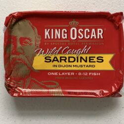 Image of the front of a tin of King Oscar Sardines (Sprats) in Dijon Mustard