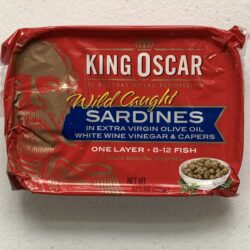 Image of the front of a package of King Oscar Sardines (Sprats) in Extra Virgin Olive Oil, White Wine Vinegar and Capers