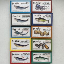 Image of the fronts of every Matiz tinned seafood