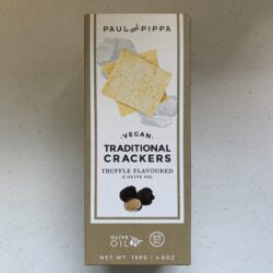 Image of the front of a box of Paul and Pippa Vegan Traditional Crackers, Truffle Flavored and Olive Oil