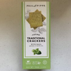 Image of the front of of a box of Paul and Pippa Vegan Traditional Crackers with Basil, Quinoa and Olive Oil