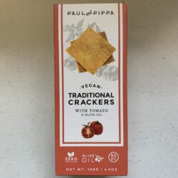 Image of the front of a box of Paul and Pippa Vegan Traditional Crackers with Tomato and Olive Oil