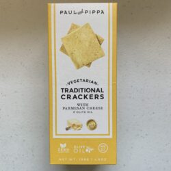 Image of the front of a box of Paul and Pippa Vegetarian Traditional Crackers with Parmesan Cheese and Olive Oil