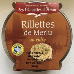 Image of the top of a jar of Les Mouettes d'Arvor Rillettes de Merlu au cidre (Hake rillettes with cider)