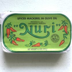 Image of the front of a tin of Nuri Spiced Mackerel in Olive Oil