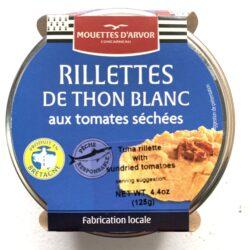 Image of the front of a jar of Mouettes d'Arvor Rilletes de Thon Blanc aux tomates séchées (Albacore with sun-dried tomatoes)
