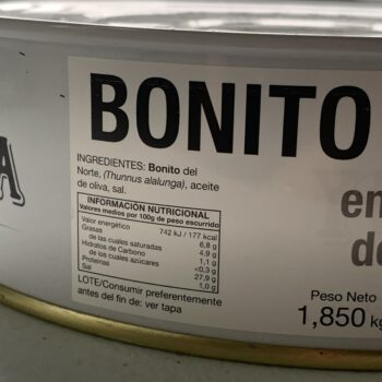 Image of the side panel of a tin of Yurrita Bonito del Norte in Olive Oil, 1850g, Large Format