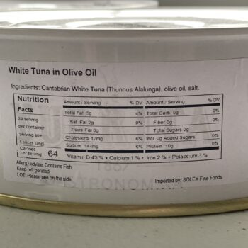 Image of the Nutrition Info panel on a tin of Yurrita Bonito del Norte in Olive Oil, 1850g, Large Format