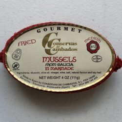 Image of the front of a tin of Conservas de Cambados Fried Mussels in Escabeche 8/12