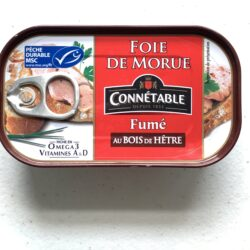 Image of the front of a tin of Connétable Smoked Cod Liver