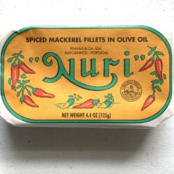 Image of the front of a package of Nuri Spiced Mackerel Fillets in Olive Oil