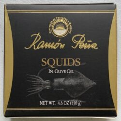 Image of the front of a package of Ramón Peña Squids in Olive Oil