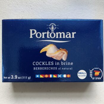 Image of the front of a package of Portomar Cockles in Brine 50/60