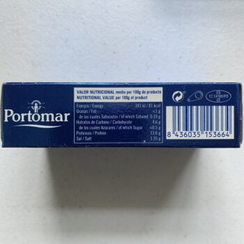 Image of the Nutrition Info panel of a package of Portomar Cockles in Brine 50/60