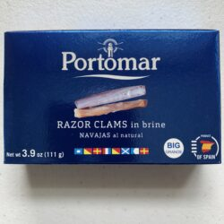 Image of the front of a package of Portomar Razor Clams in Brine 4/6