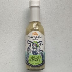 Image of the front of a bottle of Barnacle Foods Bullwhip Kelp & Serrano Hot Sauce
