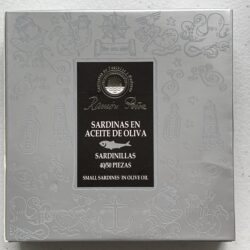 Image of the front of a package of Ramón Peña Small Sardines in Olive Oil 40/50, Large Format