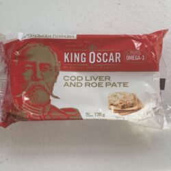 Image of the front of a package of King Oscar Cod Liver and Roe Pâté