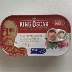 Image of the front of a tin of King Oscar Cod Liver