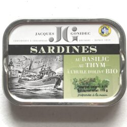 Image of the front of a tin of Jacques Gonidec Sardines with Organic Basil and Organic Thyme in Organic Extra Virgin Olive Oil