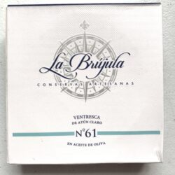 Image of the front of a package of La Brújula Yellowfin Tuna Belly (Ventresca) No. 61, Large Format