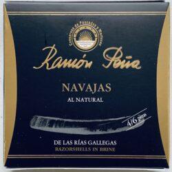 Image of the front of a tin of Ramón Peña Razorshells (Navajas) in Brine 4/6