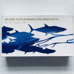 Image of the front of a tin of Maria Organic Mackerel Fillets in Organic EVOO