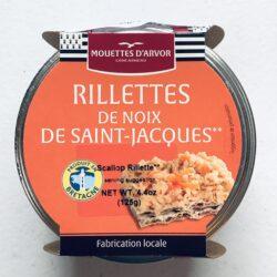 Image of the front of a jar of Mouettes d'Arvor Rillettes de noix de Saint-Jacques (Scallop Rillettes)