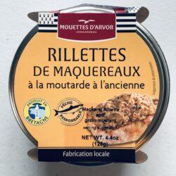 Image of the front of a jar of Mouettes d'Arvor Rillettes de Maquereaux à la moutarde à l'ancienne (Mackerel Rillette with whole grain mustard)