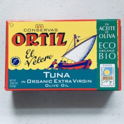 Image of the front of a package of Ortiz Yellowfin Tuna in Organic Extra Virgin Olive Oil