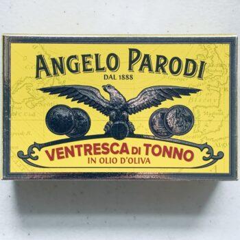 Image of the front of a package of Angelo Parodi Ventresca di Tonno in Olio d'Oliva (Yellowfin Ventresca in Olive Oil)
