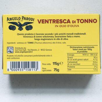 Image of the back of a package of Angelo Parodi Ventresca di Tonno in Olio d'Oliva (Yellowfin Ventresca in Olive Oil)