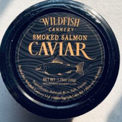 Image of the lid of a jar of Wildfish Cannery Smoked Salmon Caviar