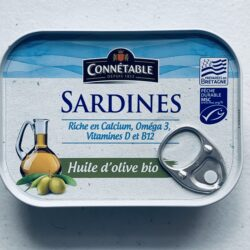 Image of the front of a tin of Connétable Sardines in Organic Extra Virgin Olive Oil