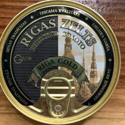 Image of the front of a tin of Riga Gold Smoked Sprats in Oil 10/12, 160g