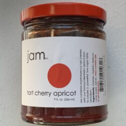 Image of the front of a jar of Tart Cherry Apricot Jam