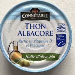 Image of the front of a tin of Connétable Yellowfin Tuna (Thon Albacore) in Organic Extra Virgin Olive Oil